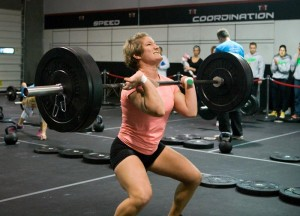 Emily fighting to complete 145# front squat.
