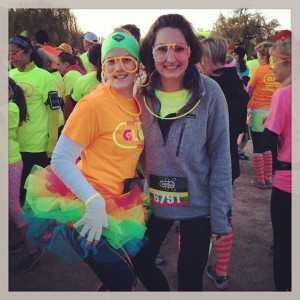 Olivia B. and Alison M. at Saturday's Glow Run.