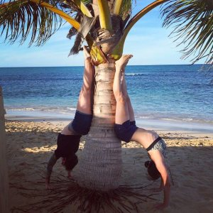 Alison and Gill showing off their handstand skills while in the DR!